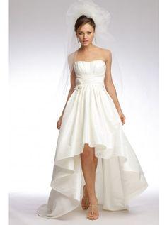 Satin A-line Asymmetrical Beading Wedding Dress#Wedding Dress http://www.planetgoldilocks.com/weddingsupplies.htm #fashions #sales