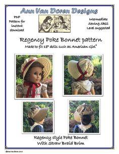Regency Style Poke Bonnet Pattern made to fit dolls such as American Girl® Purse Patterns Free, Crochet Purse Patterns, Ag Doll Crafts, Crochet Jacket Pattern, Bonnet Pattern, Sewing Dolls, Ag Dolls, Girl Dolls, Doll Costume