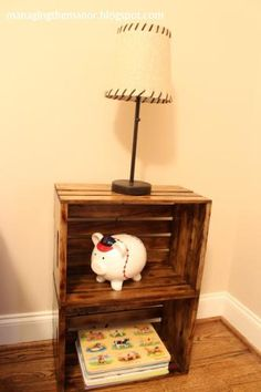 Nightstand made with cheap crates from Home Depot - sanded and distressed