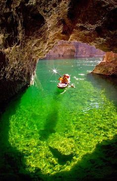 Kayaking in Emerald Cave, Colorado River in Black Canyon, Arizona. Would love to take the kayak out here! Places Around The World, Oh The Places You'll Go, Places To Travel, Places To Visit, Travel Destinations, Dream Vacations, Vacation Spots, Family Vacations, Lago Powell