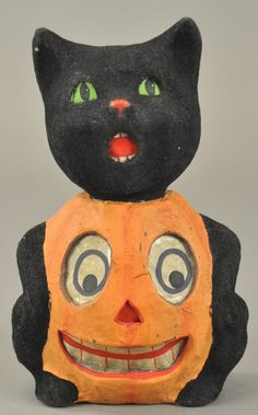 BLACK CAT/PUMPKIN HALLOWEEN CANDY CONTAINER : Lot 1389