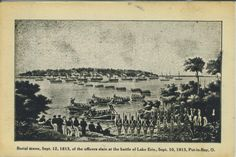 """Postcard: """"Burial scene, September 12, 1813, of the officers slain at the battle of Lake Erie.""""  Mary Cartledgehayes"""