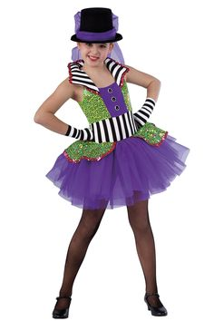 15241 Let Me Entertain You | Tap Jazz Dance Costumes | Dansco 2015 | Spandex leotard with multi-color sequin on mesh overlays, black/white striped spandex insert and felt lined collar. Attached matching top skirt. Separate chiffon tutu. Jewel applique and sequin trim. 15241-Lime/Purple 15242-Cerise/Peacock Headpiece and gloves included.