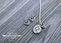 """18"""" Silver Heart Diffuser Necklace & Earrings Set"""