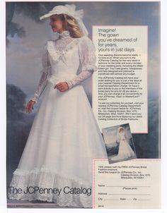 j c penny catalog wedding dresses Wedding Dress Patterns, Wedding Dress Styles, Designer Wedding Dresses, Bridal Dresses, Wedding Gowns, Wedding Dress Sleeves, Vintage Bridal, Bridal Style, Vintage Dresses