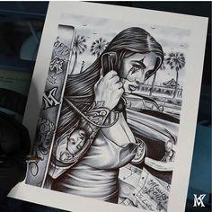 Chicano Drawings, Chicano Art, Tattoo Sketches, Tattoo Drawings, Clown Photos, Mexican Art Tattoos, Vegas Tattoo, Tattoo Designs, Tattoo Ideas