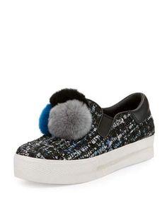 S0G3W Ash Joy Fur Pompom Slip-On Sneaker, Black/Blue