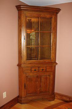 Corner Oak Painted Hutch
