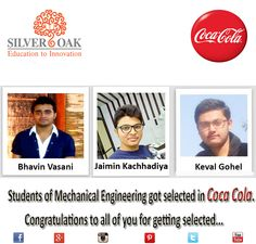 Moment of Pride For SOCET... Students of Mechanical Engineering got Selected in Coca-Cola company for their Summer Internship ... We @ Silver Oak College Of Engineering & Technology Congratulate them and wish them All The Very Best for their Future Endeavors. #ProudSOCETian #socet #placements #engineering #momentofpride #mechanical #silveroakcollege #ahmedabad #gujarat #india