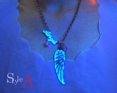 magical Fallen Angel Gowing necklace by GlowFie on Etsy, $27.00
