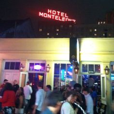 Bourbon Street view of the Hotel Monteleone sign.