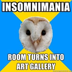 Bipolar Owl on insomnimania Anyone who has been to my house or lived with me can attest to this.