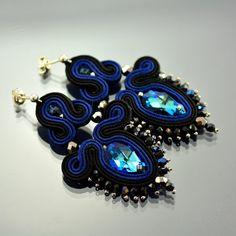 Soutache Earrings Biru Segar Dangle Medium Earrings by OzdobyZiemi