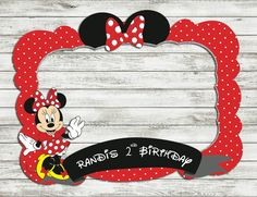 minnie mouse photo booth prop birthday frame by IRMdesgn on Etsy Mickey Mouse Birthday Theme, Birthday Party Design, Kids Birthday Themes, Mickey Party, Minnie Mouse Party, 1st Birthday Parties, Photo Frame Prop, Photo Booth Props, Mouse Photos