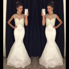 Illusion Neck White Tulle Prom Dresses, Silk-like Satin Trumpet Open Back Prom Dress, Elegant Floor-length Prom Dresses with Sparkle Beads,448