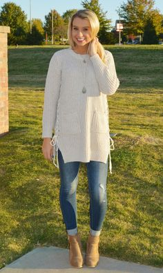 Tunic Sweater With Lace-Up Sides   Haute Pink Boutique