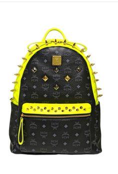 MCM bags 2014 studded stark bag pack Yellow Backpack 351bfc63af3
