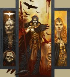 """Macha (pronounced MOCK-uh) is an Irish war Goddess, strongly linked to the land. Several Goddesses or heroines bear Her name, but She is generally thought of as one aspect of the triple death-Goddess the Mórrígan (the ""Great Queen"" or ""Phantom Queen""), consisting of Macha 'Raven', Badb 'Scald Crow' or 'Boiling', and Nemain 'Battle Fury'. Macha is associated with both horses and crows."