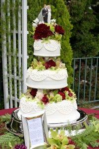 A red velvet wedding cake display