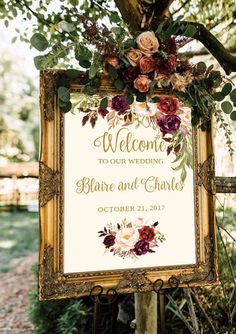 Welcome wedding sign template / editable three sizes - He . Welcome Wedding Sign Template / Editable Three Sizes - Fall Floral - Gold / Cream / Burgundy / Marsa. Floral Wedding, Wedding Bouquets, Rustic Wedding, Wedding Flowers, Hacienda Wedding, Wedding Dresses, Perfect Wedding, Dream Wedding, Wedding Day