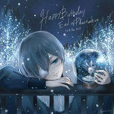 Happy Birthday Phantomhive Smile~~~~ Art by Yukiko Black Butler Ciel, Black Butler Funny, Black Butler Undertaker, Ciel Phantomhive, Anime Manga, Anime Guys, Anime Art, Manga Girl, Black Butler Wallpaper