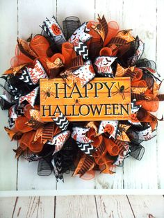 Halloween Deco Mesh, Happy Halloween, Wired Ribbon, Fall Flowers, Deco Mesh Wreaths, Orange, Ebay, Autumn Flowers