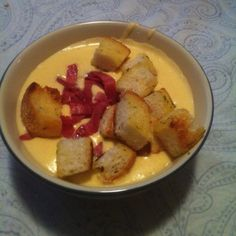 Calamity Cafe Cheese soup.  1 stick butter 1/2 cup flour Mix into roux over low/med heat Add 3 pints half and half Let that warm up Whisk in cup and a half mild cheddar and a cup and a half of sharp cheddar. 8 slices of American cheese 2 tsp of white pepper.