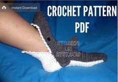 PATTERN for crocheted Shark Slipper Socks Baby Child and