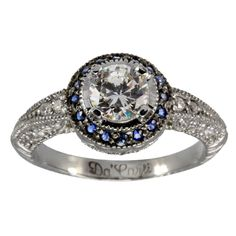 Vintage Round Diamond Engagement Setting With Sapphires -  Is this not the most beautiful ring ever...