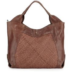 Henry BeguelinBeverly Woven Double-Handle Tote Bag, TanDetailsBeverly glossy leather tote with gunmetal hardware. Woven leather center panel at front and back.…
