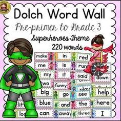 Enter to win this Dolch word wall set! ! Enter for your chance to win 1 of 4. SUPERHERO CLASS DECOR DOLCH WORD WALL SET {PRE-PRIMER TO GRADE 3}  (101 pages) from TeachToTell on TeachersNotebook.com (Ends on on 08-14-2015) The soothing calm colors in this Dolch Word Wall Set will make identifying and reading these common sight words a breeze!.