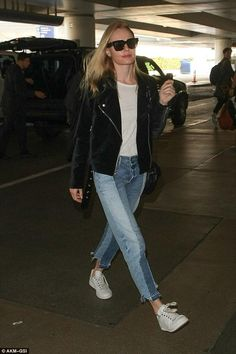 Kate Bosworth wearing Celine Cl41097 Strat Screen Sunglasses, Frame Nouveau Le Mix Jeans in Remix, Paige Shana Jacket and Adidas Stan Smith Raf Simons Sneakers