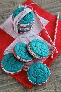 Red White and Blue Whoopie Pies... Perfect for the Fourth of July!