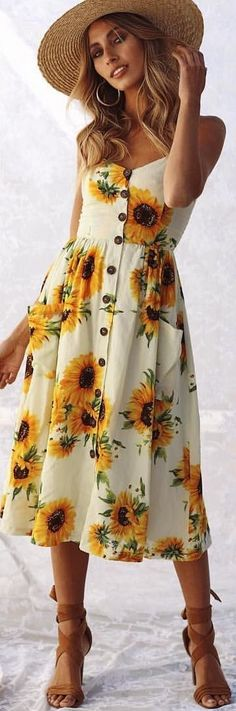 #winter #outfits white and yellow floral sleeveless dress