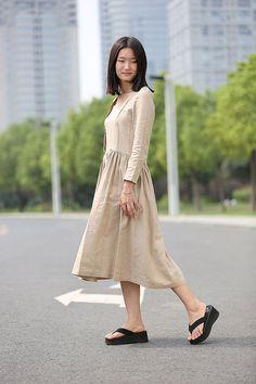 Khaki linen dress midi dress casual dress C269 by YL1dress on Etsy