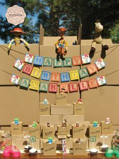 Love the Blocks sign, and the idea to have kids bring toys to donate to charity!