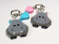 """Kawaii Hippo Key Ring Charm, Seed Bead Animal. This is a new design for me. I made it using the brick stitch technique AND the ladder stitch. Though the thread has passed through the beads more than once, it is still """"feels"""" like a bead woven design - supple and lightweight."""