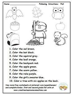 This Is A Cute Fall Activity For Students To Read And Follow Speech Therapy Activities, Language Activities, Preschool Activities, Play Therapy, Listening Activities, Therapy Ideas, Listening And Following Directions, Following Directions Activities, Active Listening
