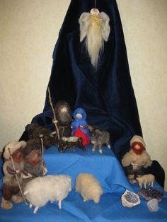 Een zeer fraaie kerstgroep van lontwol