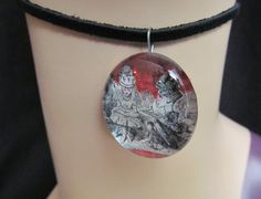 Alice the Queen Glass Cabochon Necklace by stevenssteampunk