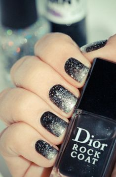 Black glitter ombre nails #nail #art
