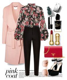 """Pink Coat..."" by unamiradaatuarmario ❤ liked on Polyvore featuring L.K.Bennett, Jill Stuart, Jaeger, Gucci, Jimmy Choo, Giorgio Armani, Burberry, Marc Jacobs, Prada and Chanel"