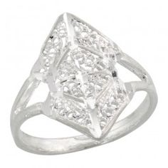 Sterling Silver Filigree Diamond-shaped Ring.