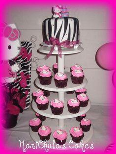 Hello Kitty Zebra Print Cake and Hello Kitty Cupcakes