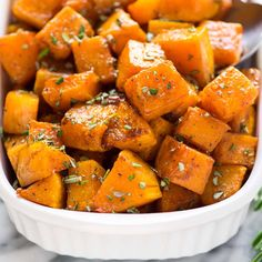 Cinnamon Roasted Butternut Squash with Maple and Rosemary. Cubes of butternut squash tossed with maple syrup, Butternut Squash Spaghetti Recipes, Roasted Butternut Squash Cubes, Spaghetti Squash, Oven Roasted Squash, Best Baked Butternut Squash Recipe, Butternut Squash In Microwave, Butternut Squash Side Dish, Butternut Squash Casserole, Cauliflower Casserole