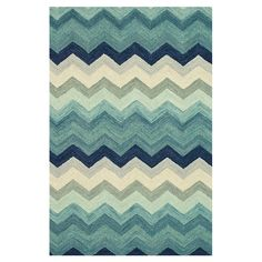 Chevron wool rug in blue shades