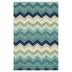 Chevron wool rug in blue shades
