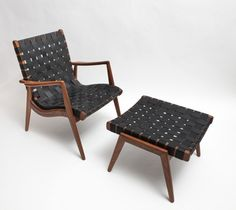 WLC 22 – Woven leatherstrapped armchair by Smilow Furniture | reGeneration