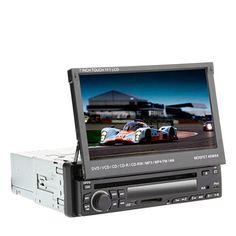 7 «écran tactile LCD 1DIN numérique Groupe lecteur DVD de voiture support de l'iPod, Bluetooth, radio stéréo, RDS, écran tactile