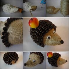 This tutorial will introduce you with step by step instructions how to make a hedgehog from coffee beans with their hands. Not everyone knows how unusual and interesting the hedgehog… Fall Pumpkin Crafts, Fall Crafts, Diy And Crafts, Crafts For Kids, Jute Crafts, Pine Cone Crafts, Coffee Bean Art, Coffee Beans, Hedgehog Craft